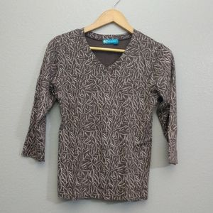 Fresh Produce Small V-neck Brown Shirt Top Thick